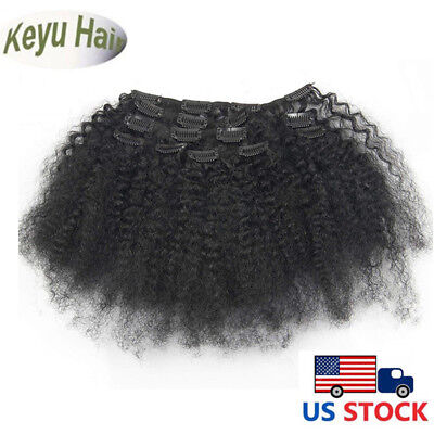 "8""-18"" Clip in Remy 100% Human Hair Extensions Afro Kinky Curly Clip ins 7pcs70g"