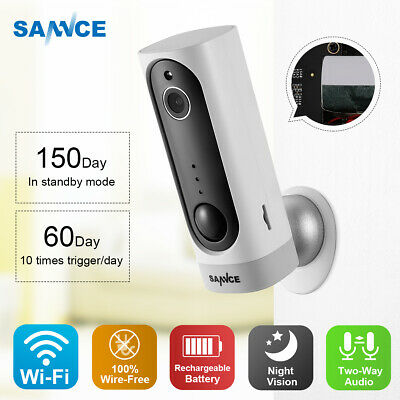 SANNCE HD Wireless Home CCTV Smart Security Camera System Wire-free Battery PIR
