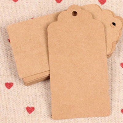 100 Pcs/Set 5cm x 3cm Kraft Paper Gift Tags Wedding Scallop Label Blank Luggage