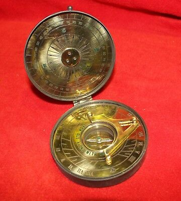 Brass Sundial with Compass Antique Finish