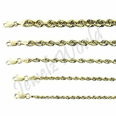 "Real 10K Yellow Gold 1.8mm~4mm Diamond Cut Rope Chain Pendant Necklace 14"" ~ 30"""