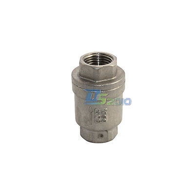 """1/2"""" Inch Check Valve WOG 1000 Spring Loaded In-line Top Stainless Steel CF8M"""