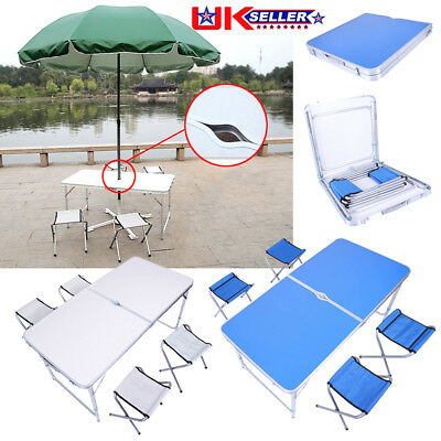Heavy Duty Folding Table Portable Plastic Camping Garden Party Trestle 4 Chairs