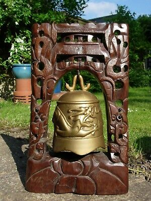 Chinese Wooden Gong Dragon Chasing Pearl Carved Wood Brass Bell Antique Rare