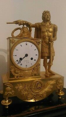 Pendule bronze dore mercure or epoque empire restauration horloge clock uhr