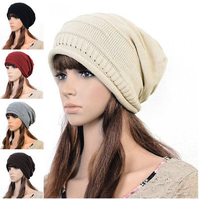 Ladies Womens Soft Warm Winter Knitted Slouch Oversize Long Fashion Beanie Hat