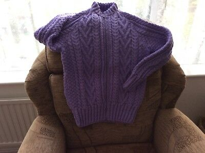 Ladies hand knitted aran jacket in Lilac. medium size