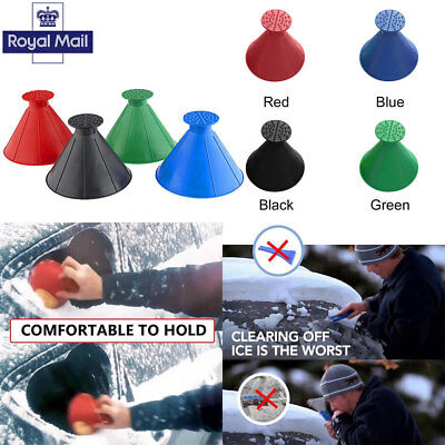 UK Car Windshield Magic Ice Scraper Tool Cone Shaped Funnel Snow Remover Outdoor