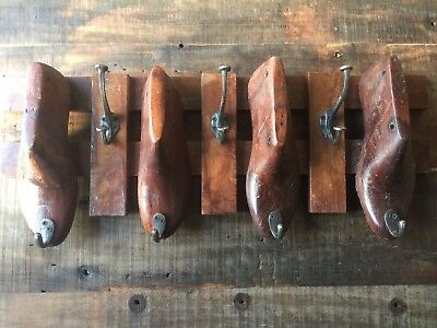 Rustic Up-cycled Stained Wooden Shoe Last Coat Hanger Wall Mountable 7 Hooks