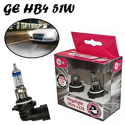 2x General Electric HB4 51W 12V P22d Clear White +120% Headlight Halogen Lampe