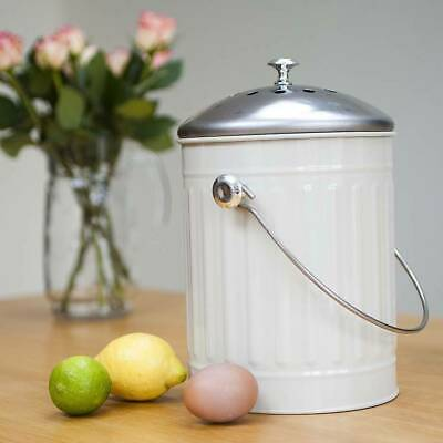 Kitchen 5L Compost Bin Canister Garbage Tin Bucket Set Retro Garden Waste White