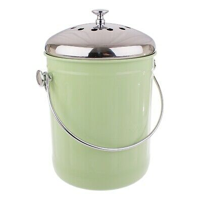 Kitchen 5L Compost Bin Canister Garbage Tin Bucket Set Retro Garden Waste Green
