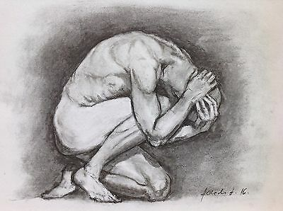 Male Nude Charcoal Drawing Original Art Size A4 Crouching Figure