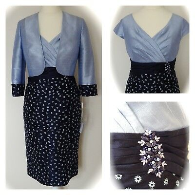 Condici MOTHER OF BRIDE Dress & Jacket, Embroidered French Navy & Cornflower, 16
