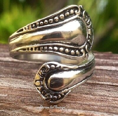 Antique Silver Spoon Ring Bypass Stainless Steel Vintage style Fashion