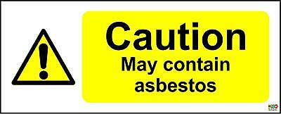 Warning contains asbestos sign - Self adhesive sticker 250mm x 100mm
