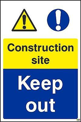 200mmx133mm Construction Site Keep Out sign (1.2mm Plastic Sign)