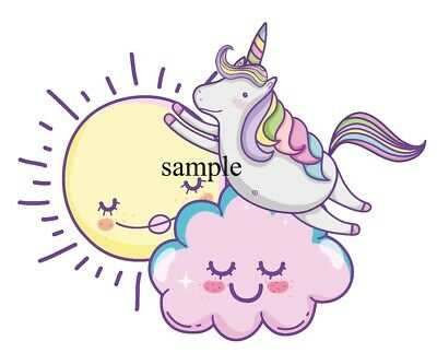 UNICORN CLOUDS SUN Iron On Transfer with FREE protective wallet &  instructions