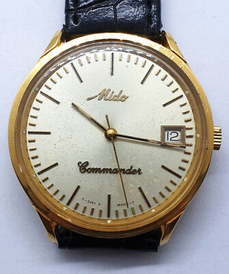 Vintage Gold Mido Commander 8221 Automatic Mens Automatic Swiss Watch