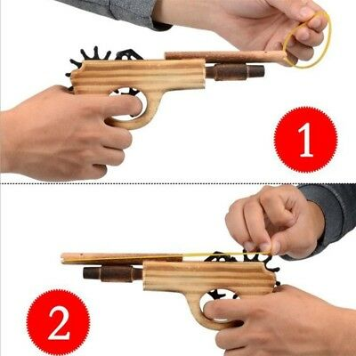 Rubber Band Launcher Wooden Hand Toy Guns Gifts Boys Outdoor Fun Sports