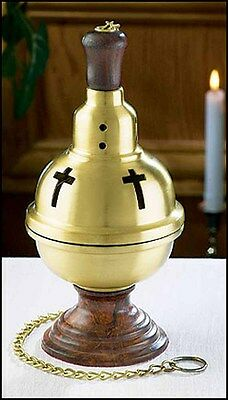 "Brass & Wood Censer for Incense Ceremony 4.5"" Dia 9""H NEW GC826 Catholic"