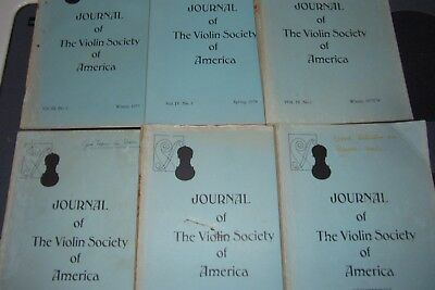 Violin Society of America Journal .... lot of six