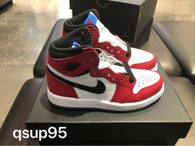 Air Jordan Retro 1 High OG Spider Man Origin Story Toddler Preschool Size 4C-3Y