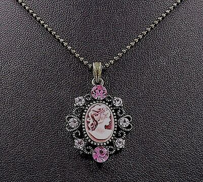 Victorian Lady Style Cameo Heart Crystal Charm Pendant Chain Necklace Pink