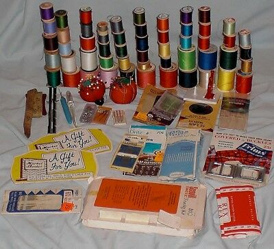 Vintage Sewing NOTIONS- Wooden SPOOLS, Needles, Rippers, Threader, Pin CUSHIONS