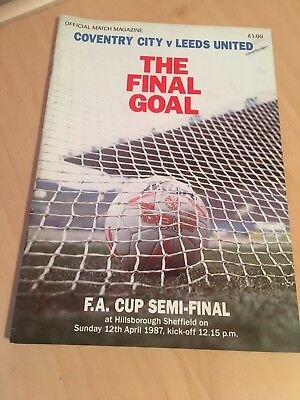 Coventry City v Leeds United FA Cup Semi-Final Programme From Season 1986-1987