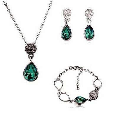 Silver Plated Teal Green Tear Drop Crystal Necklace Bracelet And Earrings Set
