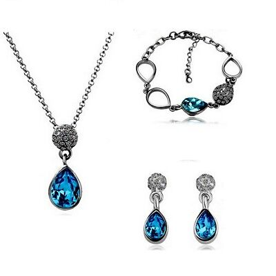 Silver Plated Blue Tear Drop Crystal Necklace Bracelet And Earrings Set