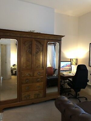Vintage French Ornate Carved Walnut Large Double Mirror Armoire/Wardrobe