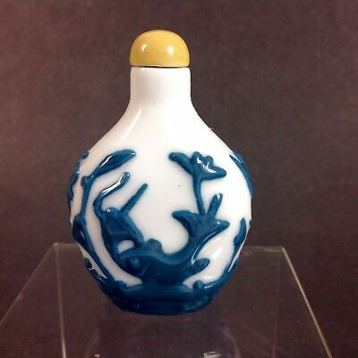Antique Chinese Carved Blue & White Peking Glass Overlay Snuff Bottle Lotus Fish