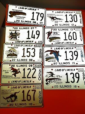 2006 to 2014 Superman License Plate from Metropolis Illinois IL Ill. State-Issue