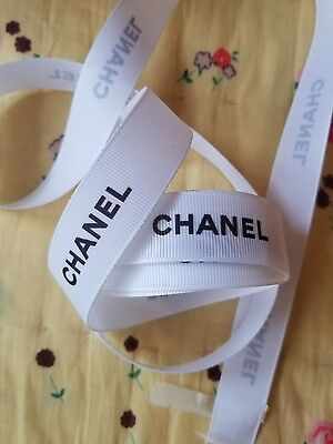 3 yards 108 INCHES New Authentic Chanel WHITE BLACK Grosgrain Ribbon Large wide