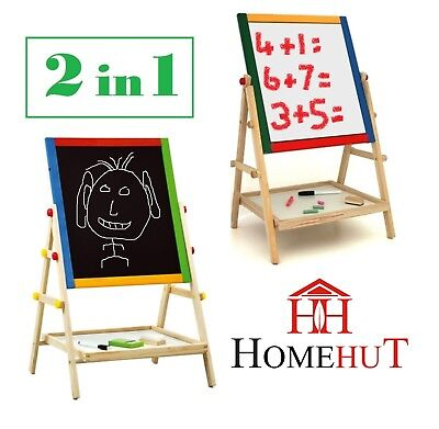 Kids Wooden Easel Blackboard Whiteboard Childrens Drawing Chalk Magnetic Board