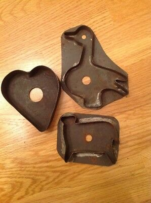 3 Antique flatback finger hole soldered Tin Cookie Cutters Sheep Duck heart