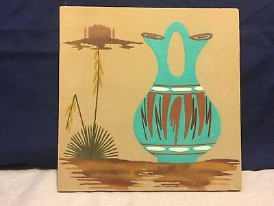 """SAND PAINTING SouthWest Art, Signed, Titled """"WATER JAR"""",Collectibles > Cultures"""