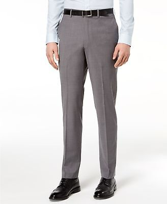 $390 Dkny Men'S Slim Fit Gray Wool Trousers Neat Stretch Suit Pants Size 29w 33l