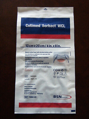 """1 (One) BSN MEDICAL CUTIMED SORBACT WCL WOUND DRESSING~4""""X8""""~11/2021~NEW/SEALED"""
