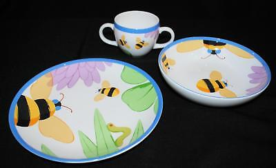 TIFFANY & CO Childs 3 Pc BUZZ BUZZ Bone China Dish Set Plate Bow Cup Bumble Bee