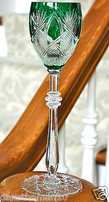 Faberge Imperial Czar Wine Glass Goblet Emerald Green Cased Crystal, Signed