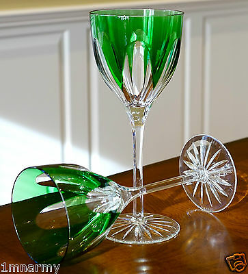 "Faberge Regency Wine Glass Goblets 9""h, Emerald Green Cased Crystal"
