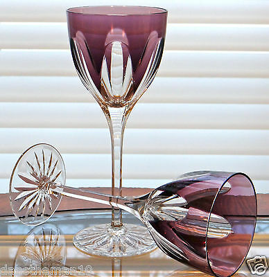 "Faberge Regency Wine Glass Goblets 9""h, Amethyst Purple Cased Crystal"