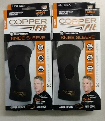 "2 Copper Fit Compression Knee Sleeve For Men & Women ~ Size Large 17"" - 19"""