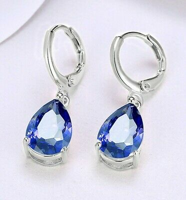 14k White Gold Plated Leverback One Stone Dangle Earrings Natural Pear Sapphire