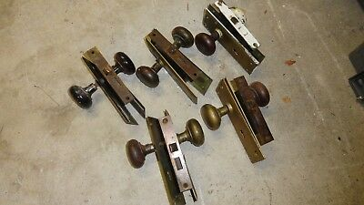 Antique Vintage Hardware Assorted Lot 5 Metal Door Plates  Door Knobs Salvage