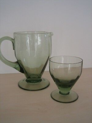 WHITEFRIARS 1940s WWII Utility Design Water Jug & Goblet - Optical Ribbed