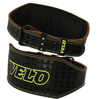 "VELO 6"" Weight Lifting Leather Belt Gym Back Support Strap Power Training Strap"